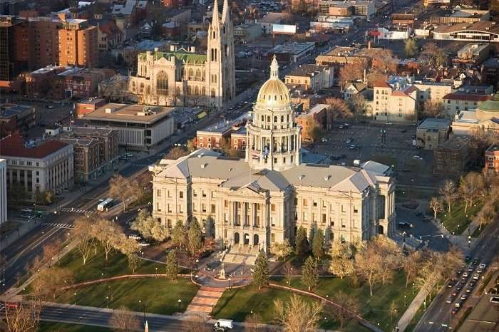aerial view of colorado state capitol building
