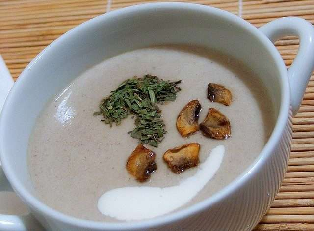 mushroom soup in a cup